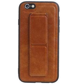 Grip Stand Hardcase Backcover voor iPhone 6 Bruin