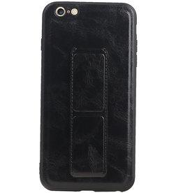 Grip Stand Hardcase Backcover für iPhone 6 Plus Schwarz