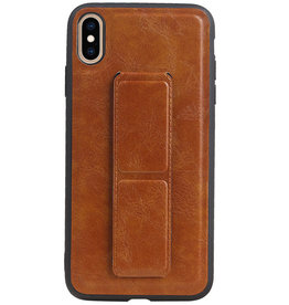 Grip Stand Hardcase Backcover for iPhone XS Max Brown
