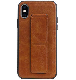 Grip Stand Hardcase Backcover for iPhone XS / X Brown