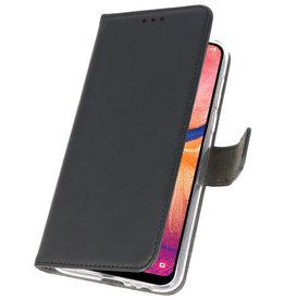 Wallet Cases Hülle für Samsung Galaxy A20 Schwarz