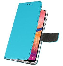 Wallet Cases Hülle für Samsung Galaxy A20 Blue