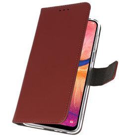 Wallet Cases Hülle für Samsung Galaxy A20 Brown