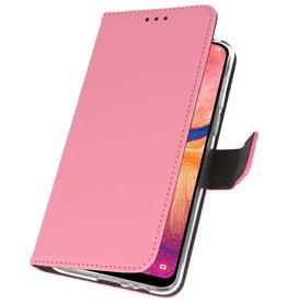 Wallet Cases Hülle für Samsung Galaxy A20 Pink