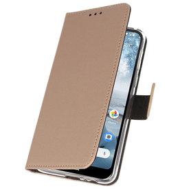 Wallet Cases Hoesje voor Nokia 4.2 Goud