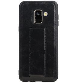 Grip Stand Hardcase Backcover für Samsung Galaxy A8 (2018) Schwarz