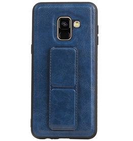 Grip Stand Hardcase Backcover für Samsung Galaxy A8 (2018) Blau