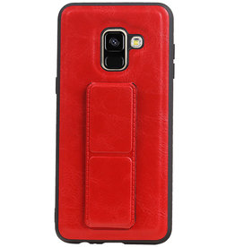 Grip Stand Hardcase Backcover für Samsung Galaxy A8 (2018) Rot
