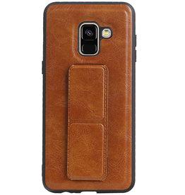 Grip Stand Hardcase Backcover für Samsung Galaxy A8 (2018) Braun