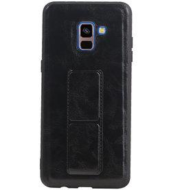 Grip Stand Hardcase Backcover für Samsung Galaxy A8 Plus Schwarz