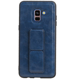 Grip Stand Hardcase Backcover voor Samsung Galaxy A8 Plus Blauw