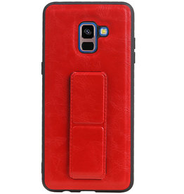 Grip Stand Hardcase Backcover voor Samsung Galaxy A8 Plus Rood