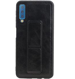 Grip Stand Hardcase Backcover für Samsung Galaxy A7 (2018) Schwarz