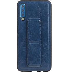 Grip Stand Hardcase Backcover für Samsung Galaxy A7 (2018) Blau