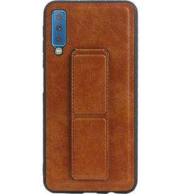 Grip Stand Hardcase Backcover für Samsung Galaxy A7 (2018) Braun