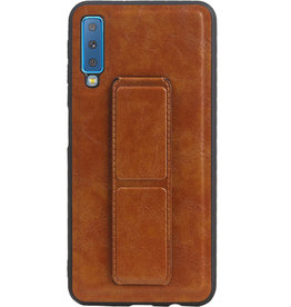 Grip Stand Hardcase Backcover voor Samsung Galaxy A7 (2018) Bruin