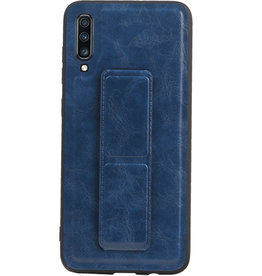 Grip Stand Hardcase Backcover voor Samsung Galaxy A70 Blauw
