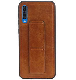 Grip Stand Hardcase Backcover for Samsung Galaxy A50 Brown