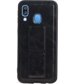Grip Stand Hardcase Backcover for Samsung Galaxy A40 Black
