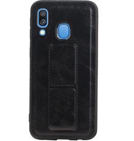 Grip Stand Hardcase Backcover für Samsung Galaxy A40 Schwarz
