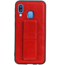 Grip Stand Hardcase Backcover voor Samsung Galaxy A40 Rood