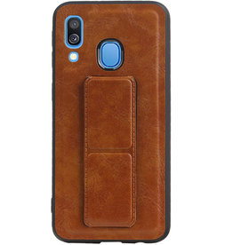 Grip Stand Hardcase Backcover for Samsung Galaxy A40 Brown