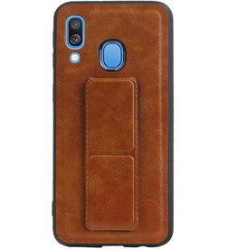 Grip Stand Hardcase Backcover für Samsung Galaxy A40 Brown