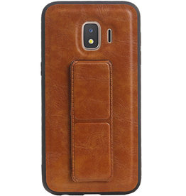 Grip Stand Hardcase Backcover for Samsung Galaxy J2 Core Brown