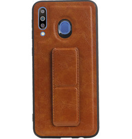 Grip Stand Hardcase Backcover voor Samsung Galaxy M30 Bruin