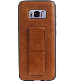 Grip Stand Hardcase Backcover für Samsung Galaxy S8 Brown
