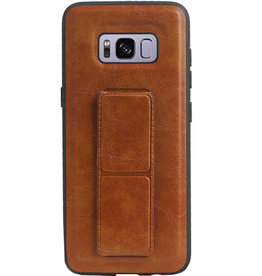 Grip Stand Hardcase Backcover voor Samsung Galaxy S8 Bruin