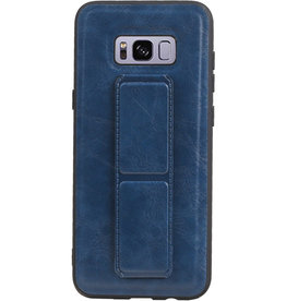 Grip Stand Hardcase Backcover voor Samsung Galaxy S8 Plus Blauw