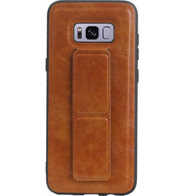 Grip Stand Hardcase Backcover for Samsung Galaxy S8 Plus Brown