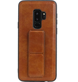 Grip Stand Hardcase Backcover für Samsung Galaxy S9 Plus Braun