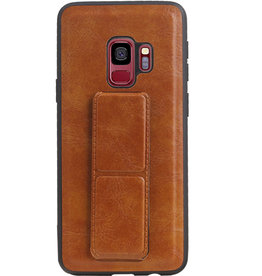 Grip Stand Hardcase Backcover for Samsung Galaxy S9 Brown