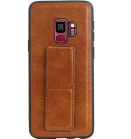 Grip Stand Hardcase Backcover für Samsung Galaxy S9 Brown