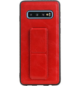 Grip Stand Hardcase Backcover für Samsung Galaxy S10 Red