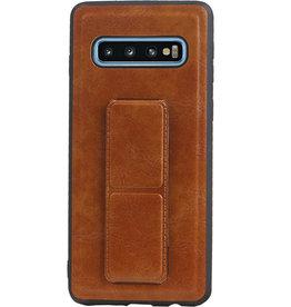 Grip Stand Hardcase Backcover voor Samsung Galaxy S10 Bruin