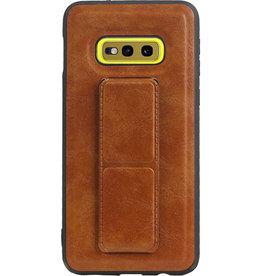 Grip Stand Hardcase Backcover für Samsung Galaxy S10E Braun
