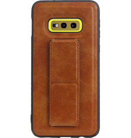 Grip Stand Hardcase Backcover voor Samsung Galaxy S10E Bruin