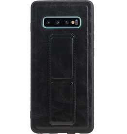 Grip Stand Hardcase Backcover for Samsung Galaxy S10 Plus Black