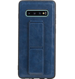 Grip Stand Hardcase Backcover voor Samsung Galaxy S10 Plus Blauw