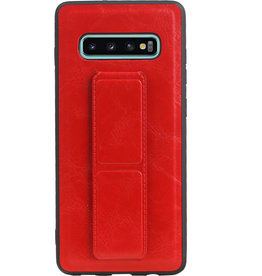 Grip Stand Hardcase Backcover for Samsung Galaxy S10 Plus Red