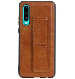 Grip Stand Hardcase Backcover for Huawei P30 Brown