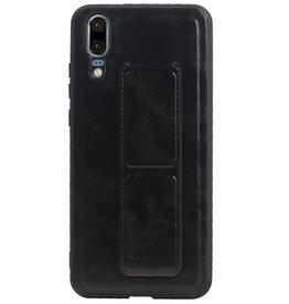 Grip Stand Hardcase Backcover voor Huawei P20 Zwart