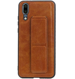Grip Stand Hardcase Backcover for Huawei P20 Brown