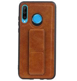 Grip Stand Hardcase Backcover voor Huawei P20 Lite Bruin