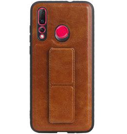 Grip Stand Hardcase Backcover voor Huawei Nova 4 Bruin