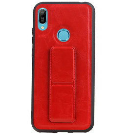 Grip Stand Hardcase Backcover voor Huawei Y6 2019 Rood