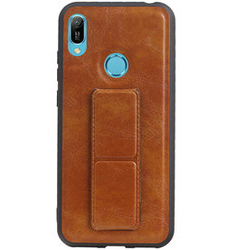 Grip Stand Hardcase Backcover for Huawei Y6 2019 Brown